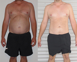 Before and after photo of first runner up Chris