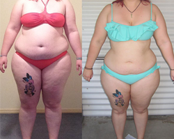 Before and after picture of 12 week challenge winner Sam