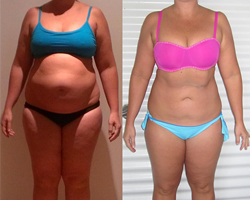 Before and after photo of challenge second runner up Jacinta