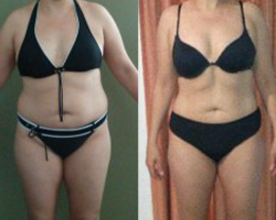 Before and after photo of challenge hard worker Marcella