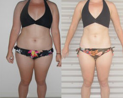 Before and after photo of challenge winner Natalie